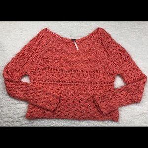 Free People • Coral Crochet Crop Top